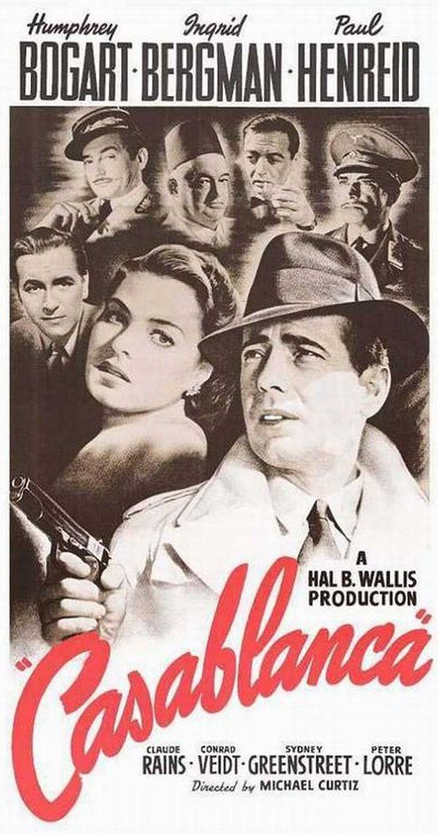 Casablanca MOVIE Directed by Michael Curtiz.  With Humphrey Bogart, Ingrid Bergman, Paul Henreid, Claude Rains. In Casablanca, Morocco in December 1941, a cynical American expatriate meets a former lover, with unforeseen complications.