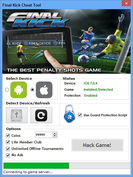 Final Kick Hack Tool (Android/iOS)   Final Kick Hack Tool (Android/iOS)  We want to present you an amazing tool calledFinal Kick Hack Tool Hack Tool.With ourFinal KickTraineryou canget unlimited Coins Life Member Club and Offline Tournaments.Our soft works on allAndroidand iOS devices. It does not require any jailbreak or root. OurFinal KickCheatis very easy to use. Just Connect your device select the device check the options you want to add click on the buttonHack Gameand youre…
