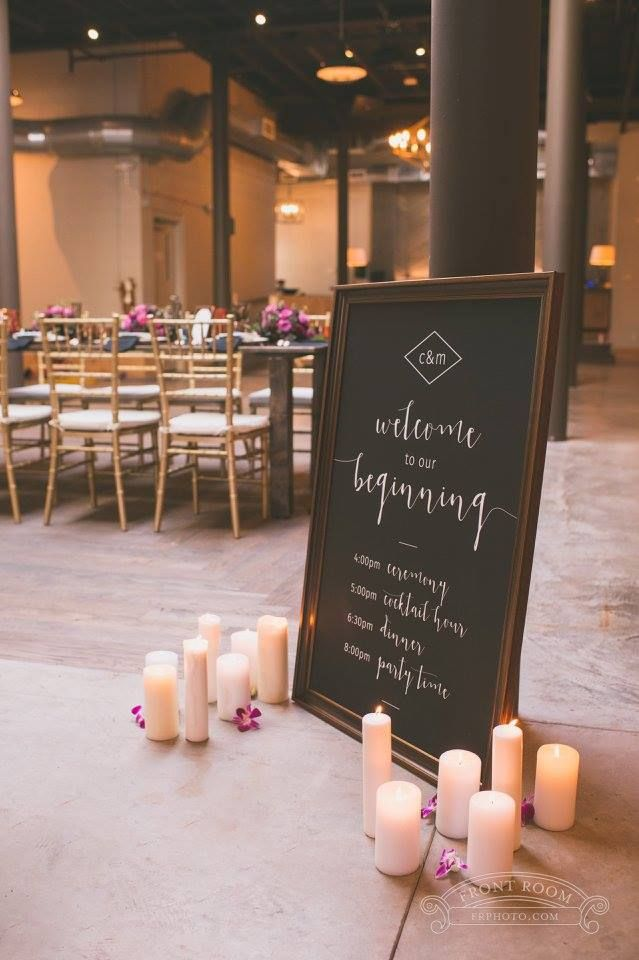 Custom wedding welcome sign with modern geometric style in black, white and rose gold for a styled shoot at The Atrium in Milwaukee.