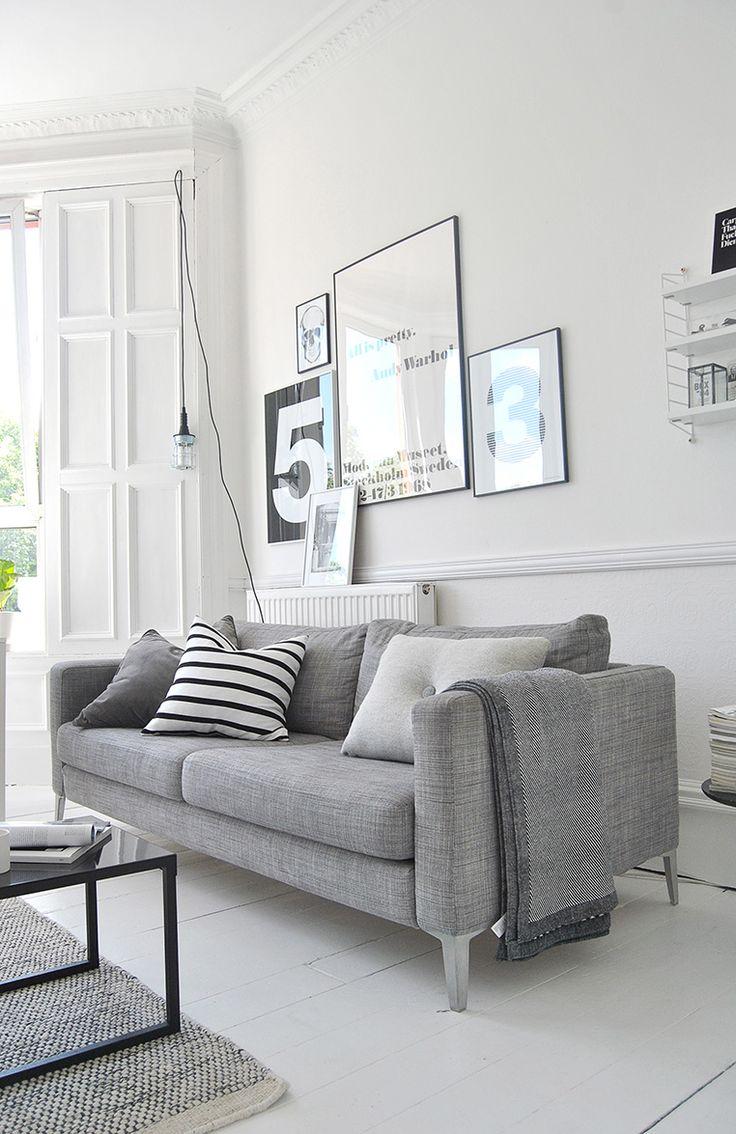 Uusi sohva harmaalla kankaalla, metallijaloilla, 3-istuttava