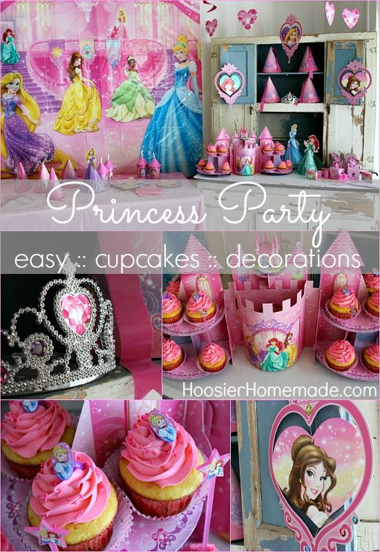 Create the Royal Event of the Year with this adorable Disney Princess Party complete with easy to make Princess Cupcakes! from HoosierHomemade.com #cupcakes