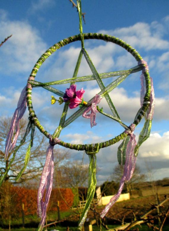 Handmade Positively Pagan Wiccan Ostara / Spring Equinox Blessings Pentacle .
