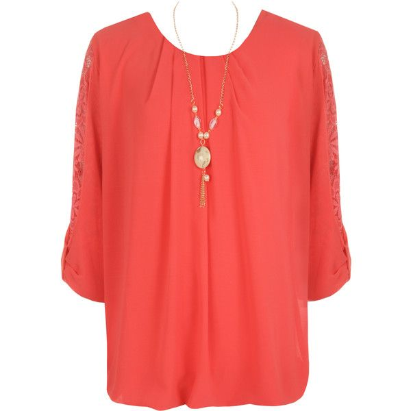 WearAll Plus Size Chiffon Necklace Top ($19) ❤ liked on Polyvore featuring tops, coral, bubble hem tops, sheer tops, red top, 3/4 sleeve tops and plus size bubble hem tops