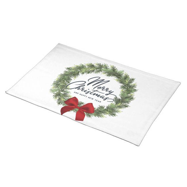 Conifer With Red Bow Merry Christmas Quote Cloth Placemat Ad Sponsored Christmas Merry Cloth Merry Christmas Quotes Custom Holiday Card Custom Placemats