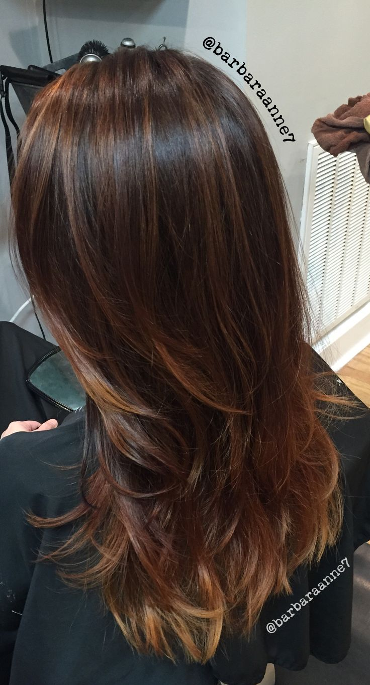 Balayage Ombré, @kenra color, layers, long hair, caramel, copper, brunette, @btcmag