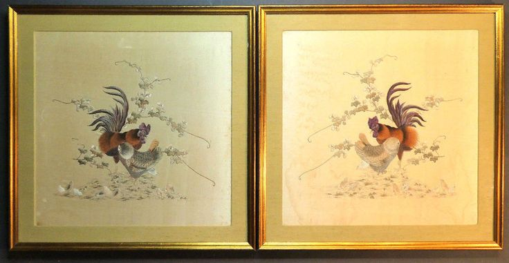 DETAILED ANTIQUE QING CHINESE PAIR HAND EMBROIDERED SILK PANELS CHICKENS