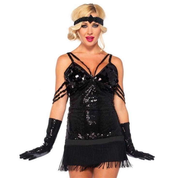 Flapper Girl Costume Adult Roaring 20s Halloween Fancy Dress