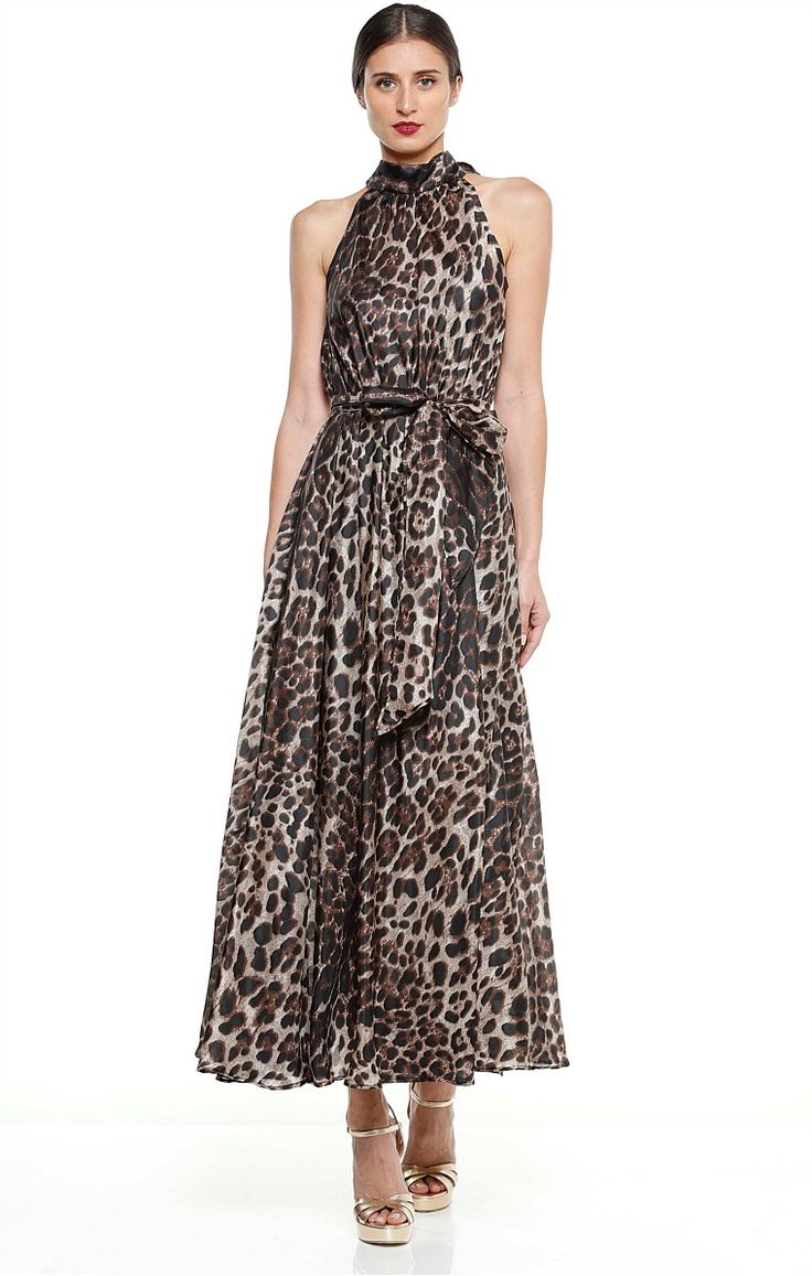 BRIGITTA LONG MAXI SILK A-LINE HIGH NECK DRESS IN LEOPARD PRINT