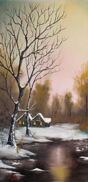 bob ross winter solace painting