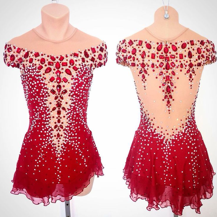 Red jewelled figure skating dress