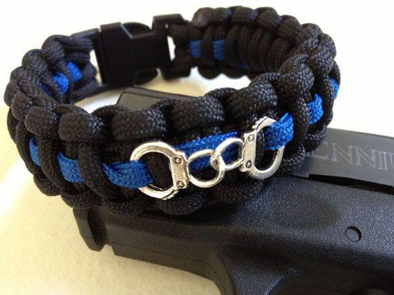 Custom Thin Blue Line Paracord Bracelet with by DaphnesWorld, $9.99 #paracord #bracelet #survival