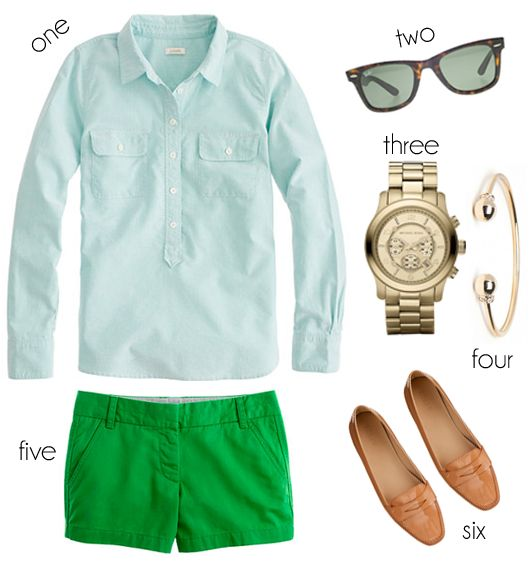 Southern Charm: Preppy Summer, Oxford Green, Preppy Outfits, Green Outfit, Kelly Green, Green Shorts, Preppy Green