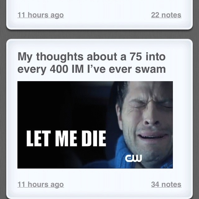 Haven't swam any yet but this is just about how Emma feels..