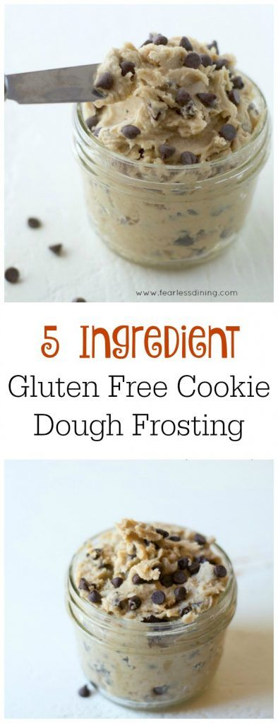 Gluten Free Cookie Dough Frosting is perfect on cakes, cupcakes, cookies, or even donuts! Recipe at http://www.fearlessdining.com