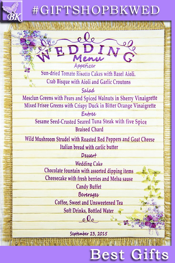 Wedding menu series 'BUTTERFLIES' are perfect for your wedding and look great in your wedding photos! Personalized custom rustic wooden wood favors menu Wedding ceremony Shabby Chic monogram Bride Groom His Her mr mrs Bridal Shower Anniversary Birthday present #giftshopbkwed #menu #monogram #wedding #photo # frame #ceremony #personalized #gift #rustic #Bride #Groom #His #Her #mr #mrs #anniversary #custom #wood #wooden #diy #shabbychic #favor #love #tree #decor #shabby #chic #home #ideas