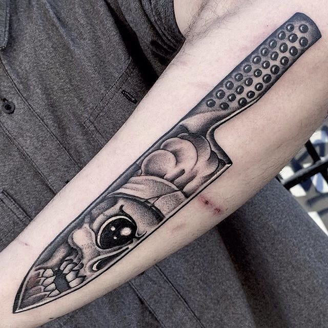 You need the best knives... and a badass knife tattoo! By Micky at Cloak and Dagger.