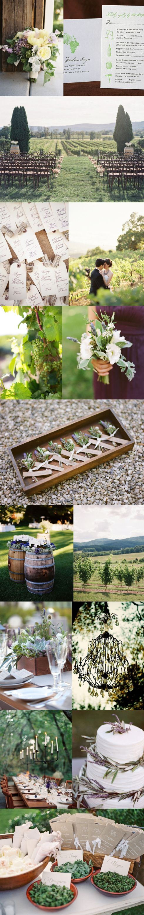rustic romantic vineyard wedding inspiration board | purple and green color palette. succulents and table candle holders.