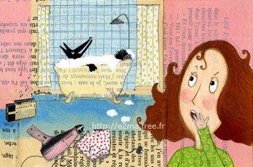 Un loup dans ma baignoire, peinture / collage, e2ma, Emmanuelle Folligné