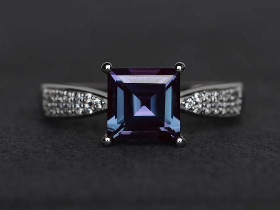 Square Cut Alexandrite Ring Silver Gemstone Ring June Birthstone
