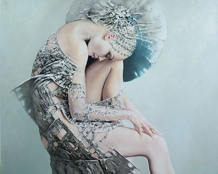 ... art, female, figure, girl, girls, gorgeous, grey, Karol Bak, painting