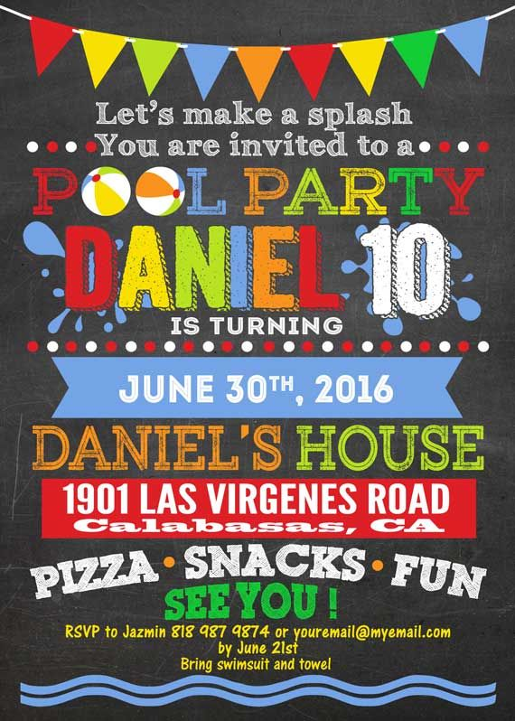 33 best images about printable custom chalkboard pool or summer, Party invitations