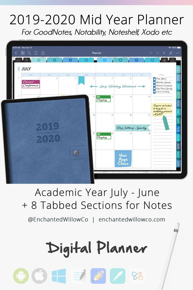 Academic Planner 2020 2021 Digital Planner Goodnotes Daily Etsy Digital Planner Academic Planner College Planner
