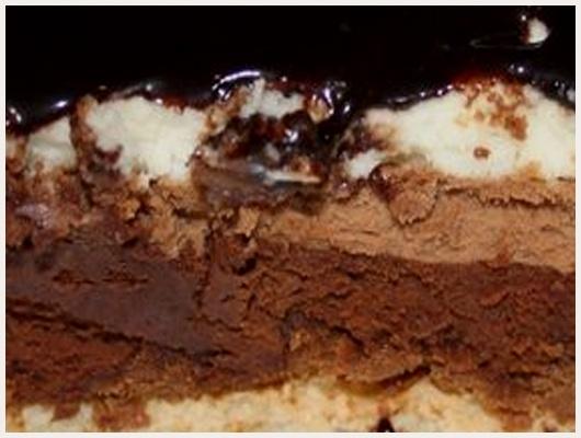 Gateau fondant croustillant aux 3 chocolats