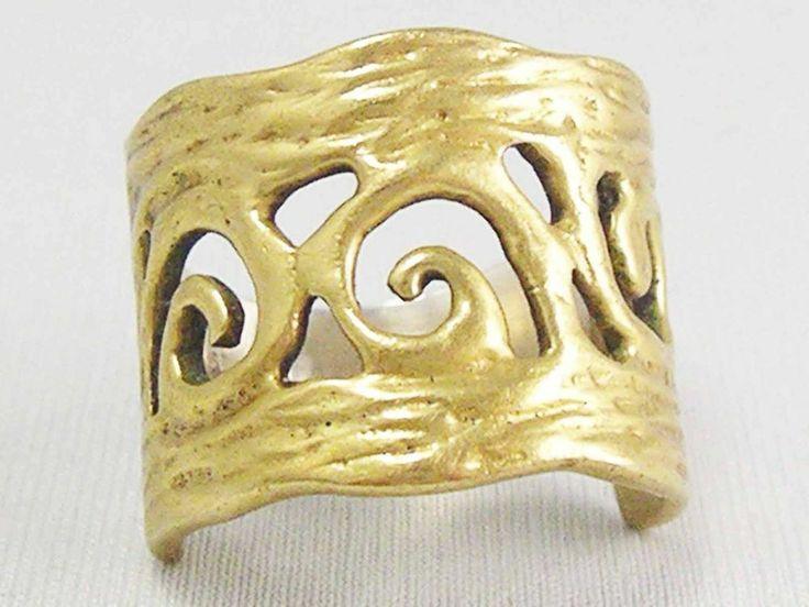 GENUINE Vintage ~Sterling Silver~  Antique ETRUSCAN REVIVAL golden Ring 925~