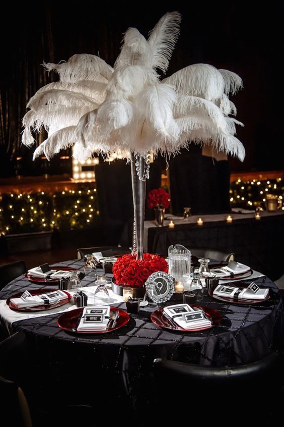 Glam old Hollywood wedding centerpiece by Will Pursell Photography.