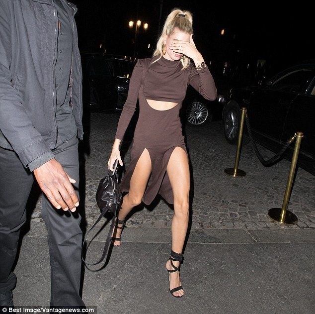 Leggy: The daughter of Stephen Baldwin oozed sex appeal in the raunchy number which was slashed on both sides to exhibit her enviably toned legs