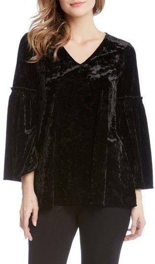 Karen Kane Women's Bell Sleeve Velvet Top
