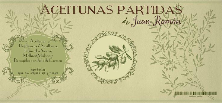 Un bonito proyecto para etiquetar 18 garrafas de las aceitunas partidas y aliñadas de Juan Ramón.