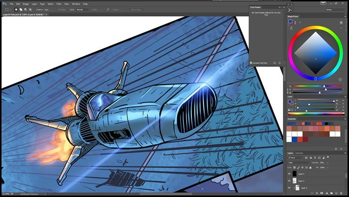 hey guys! here is a wip of the project im coloring for Wayward Raven Media. it's called Horsemen and this is issue 3 that is written by Mark Frankel and with the art of Pedro Pimentão and it will have the lettering by Taylor Esposito #MakeComics #Comics #IndieComics #HorseMen #process