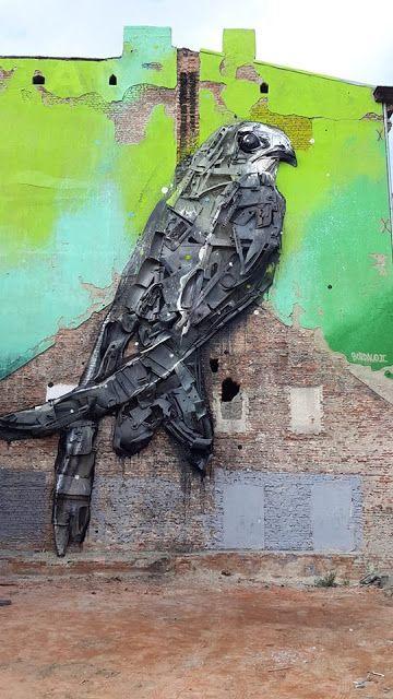 Bordalo II creates a new street art installation in Lodz, Poland