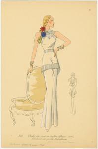Robe du soir en satin blanc, mat, broderie de perles tubulaires. (1937)