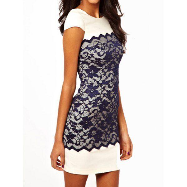 Stylish round collar short sleeve bodycon lace spliced women's dress