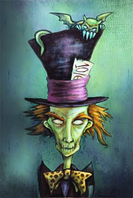 Gothic Mad Hatter from Alice in Wonderland Stories and Dark Fairytales--Fantasy Art Print. $15.00, via Etsy.