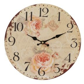 Shabby Chic Rose Distressed Wall Clock