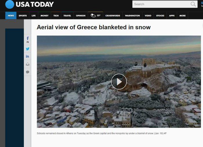 Τα μεγαλύτερα ΜΜΕ του πλανήτη «αποθεώνουν» τη χιονισμένη Ακρόπολη |thetoc.gr
