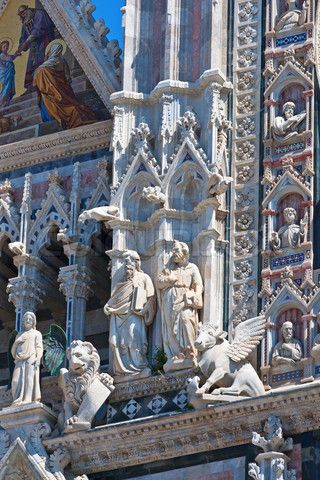 'Architectural details of grand cathedral in medieval town Siena,Tuscany,Italy
