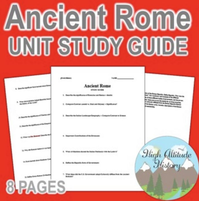 Ancient Rome Unit Study Guide World History By High Altitude Writing Response Essay