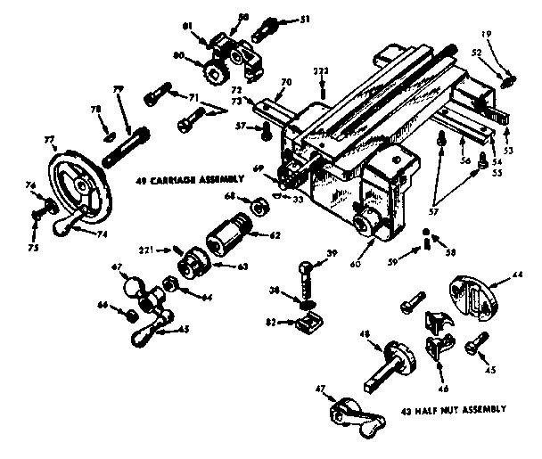CARRIAGE AND HALF NUT ASSEMBLY Diagram & Parts List for