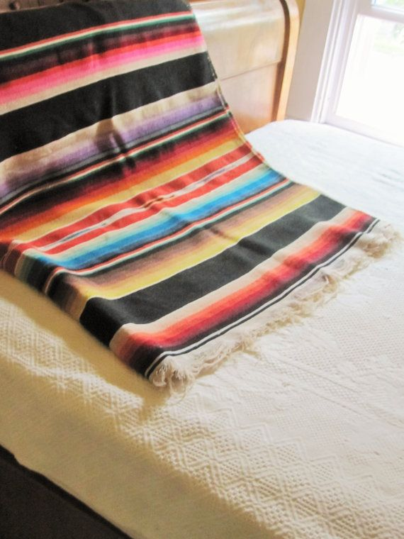 Saltillo Serape Style Woven Wool Blanket Arts Amp Crafts