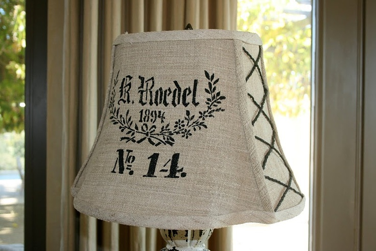 Burlap shade with side lacings...
