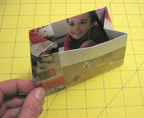 using magazine pages to make gift bags