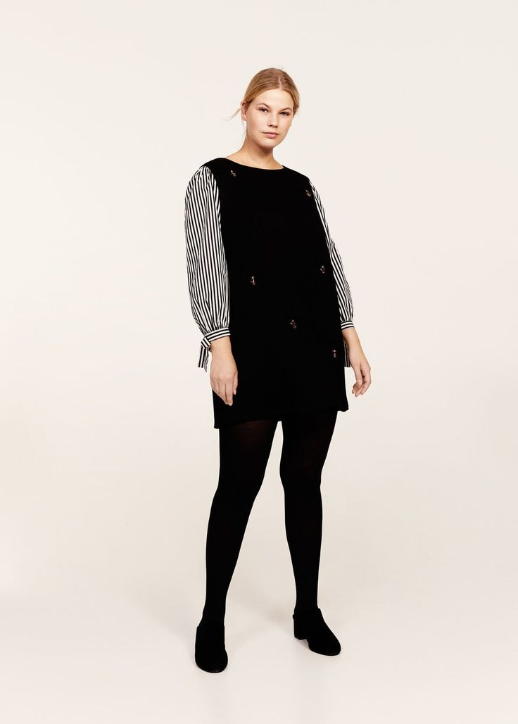 Striped sleeve appliqué dress - Dresses and jumpsuits Plus sizes | Violeta by MANGO United Kingdom