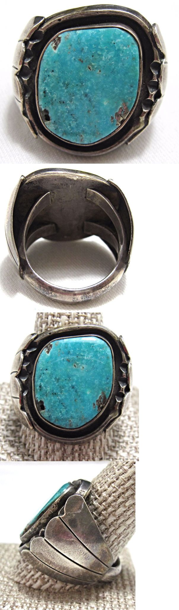 Native American pre-1935 165137: Estate Vintage Sterling Navajo Old Pawn Huge Mens Turquoise Ring Sz 12 Be754 -> BUY IT NOW ONLY: $369 on eBay!