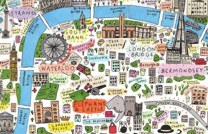 Quartieri Cartina Di Londra.Cosa Mangiano A Londra Le Differenze Tra I Vari Quartieri Mappe Illustrate Mappa Di Londra Londra