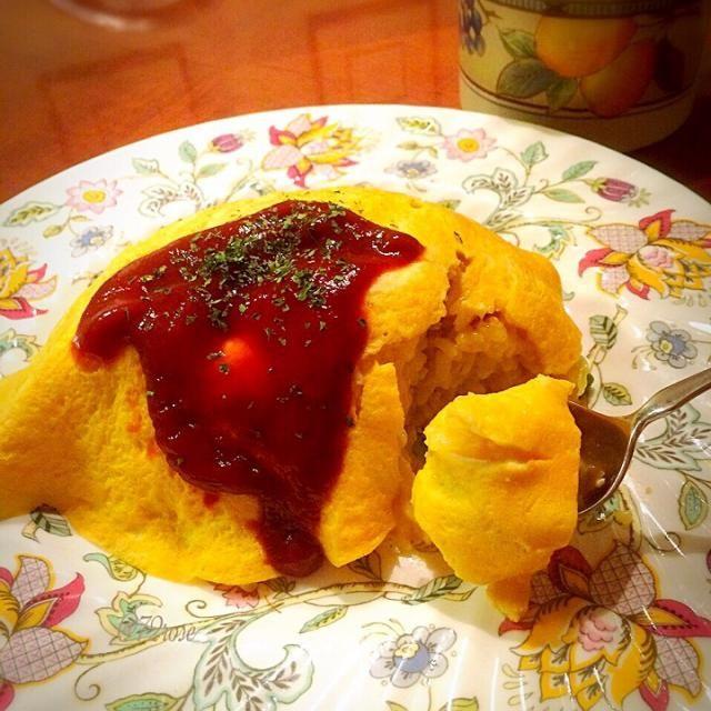 蒸し鶏の煮汁で作った野菜スープは鶏の出汁が効いて美味し〜い - 44件のもぐもぐ - オムライス by 72Yu18