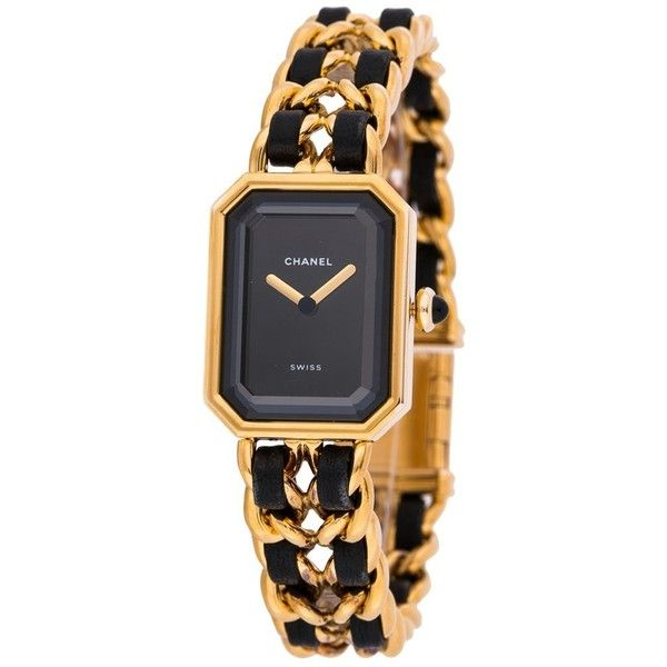 Pre-owned Chanel Premier (18.674.610 IDR) ❤ liked on Polyvore featuring jewelry, watches, black, pre owned watches, 18 karat gold jewelry, crown jewelry, pre owned jewelry and 18k jewelry